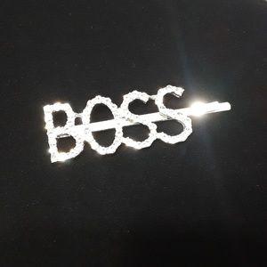 "Accessories - Rhinestone ""BOSS"" Barrett"